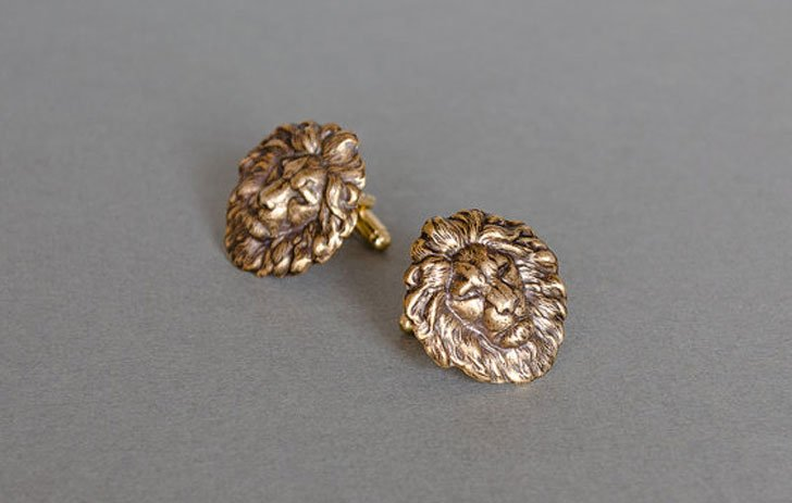 Stylish Antique Brass Lion Cufflinks