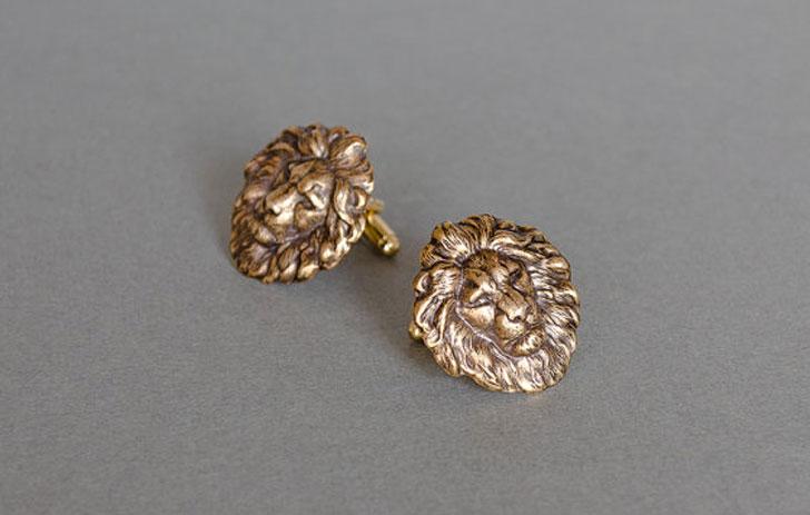 Stylish Antique Brass Lion Cufflinks