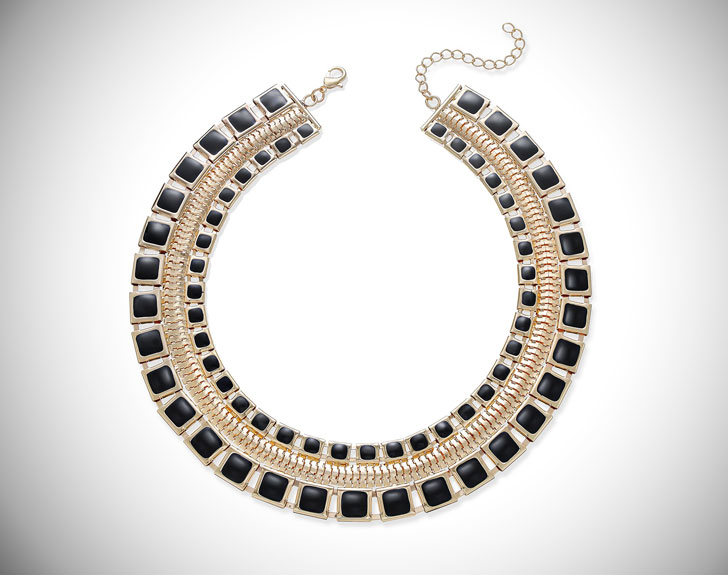 Thalia Sodi Gold-Tone & Jet Enamel Wide Collar Necklace