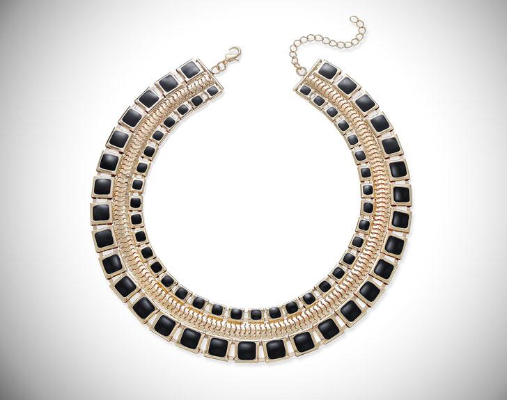 Thalia Sodi Gold-Tone & Jet Enamel Wide Collar Necklace
