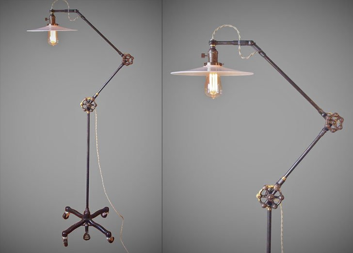 Vintage Industrial Steampunk Style Floor Lamp