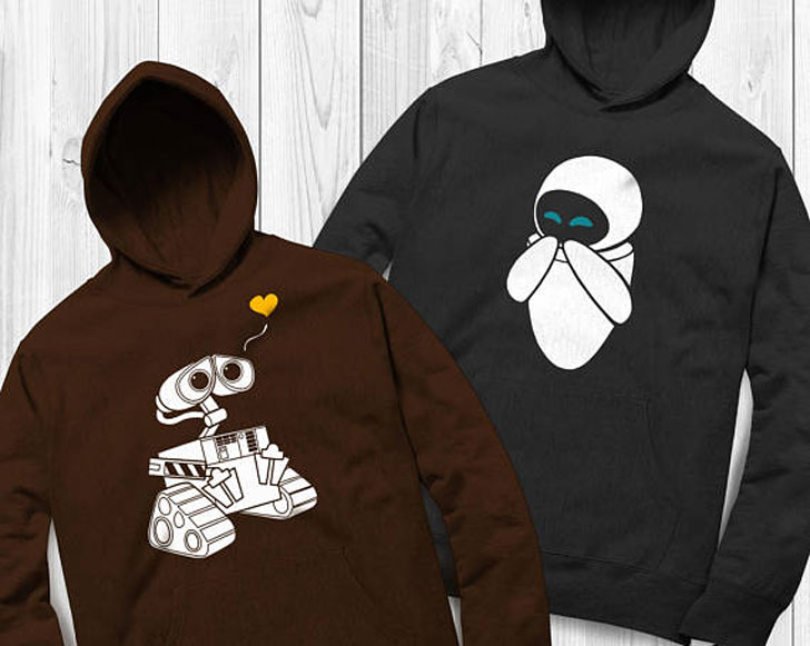 Wall-e and Eve Couples Matching Hoodies