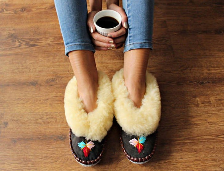 Warm Leather Shearling Slippers