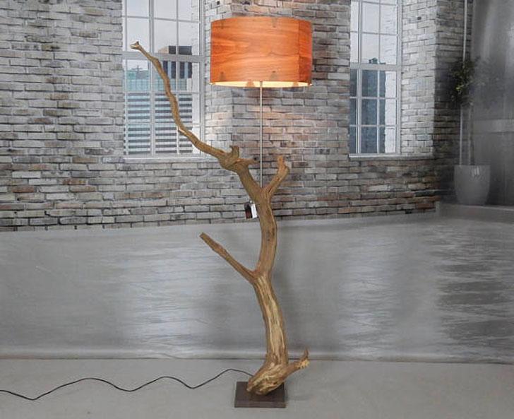 Weathered Oak Branch Floor Lamps - cool floor lamps