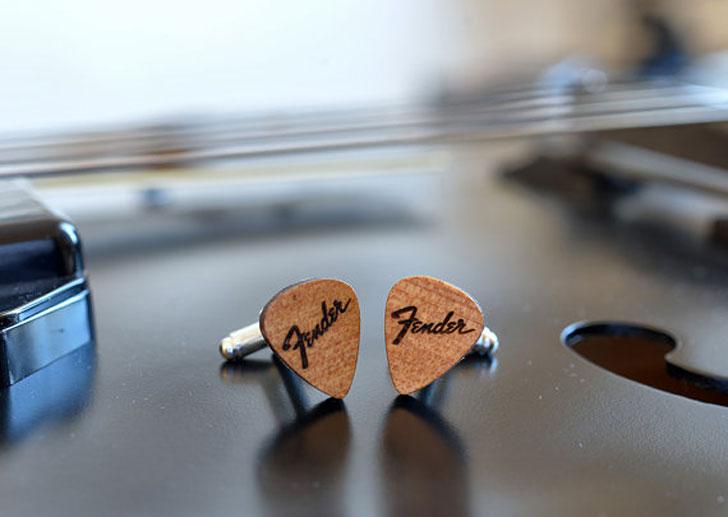 Wooden Fender Guitar Pick Cufflinks - cool cufflinks