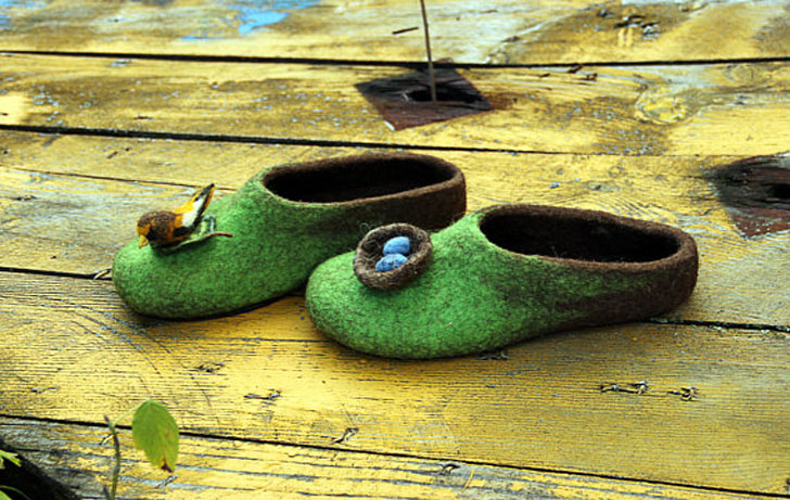 Wool Felted Bird and Nest Slippers