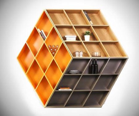 3D Illusion Rubik's Cube Bookcase