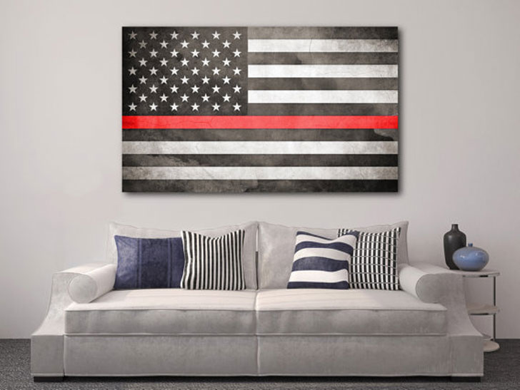 American Flag Thin Red Line Wall Decor