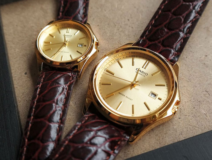 Casio Maestro in Gold His & Hers Couples Watch Set