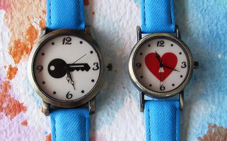 Couples Heart & Key Watch Set