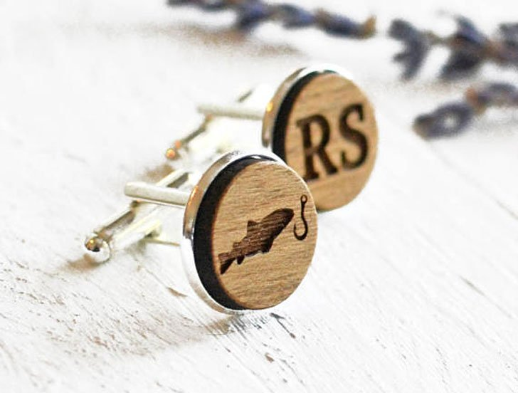 Custom Initial Fishing Cufflinks