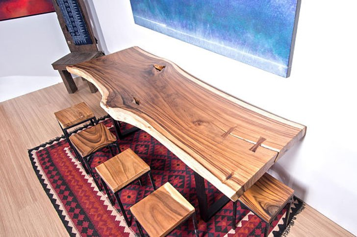 Custom Made Live Edge Natural Dining Tables