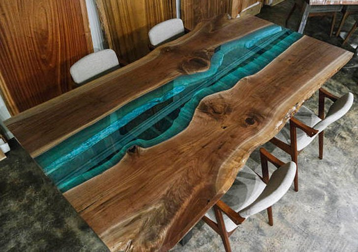 Custom Made Rustic Walnut and Blue Glass Dining Tables