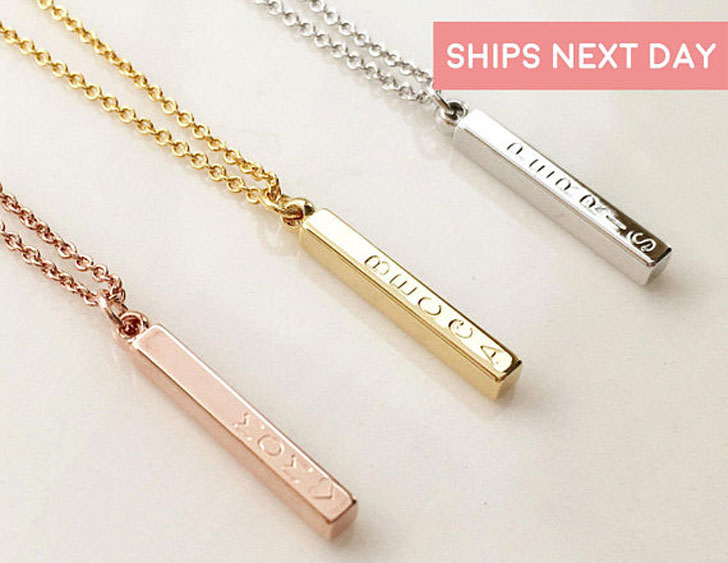 Custom Name Vertical Bar Necklaces