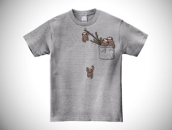 Cute Pocket Sloth Family Playing Shirt