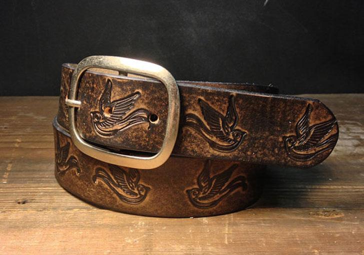 Embossed Sparrow Vintage Aged Leather Belt