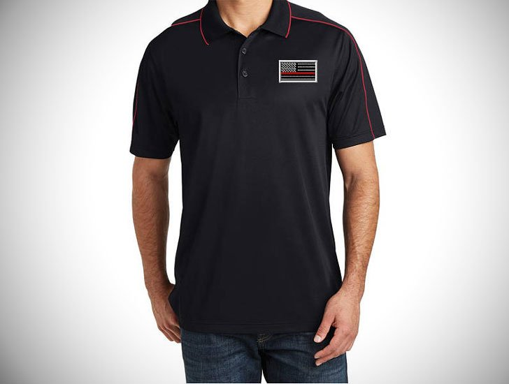 Embroidered Red Line Flag Men's Polo with Red Accents