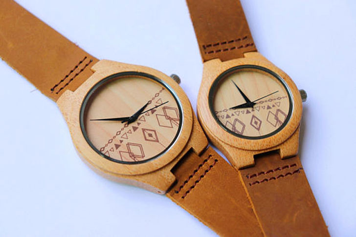 Engraved Minimalist Wooden Watches with Genuine Leather Set