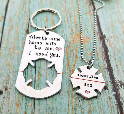 Firefighter Husband and Wife Keychain Necklace Set