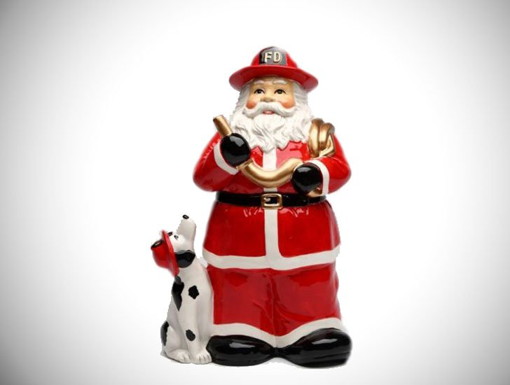 Firefighter Santa Storage Jar