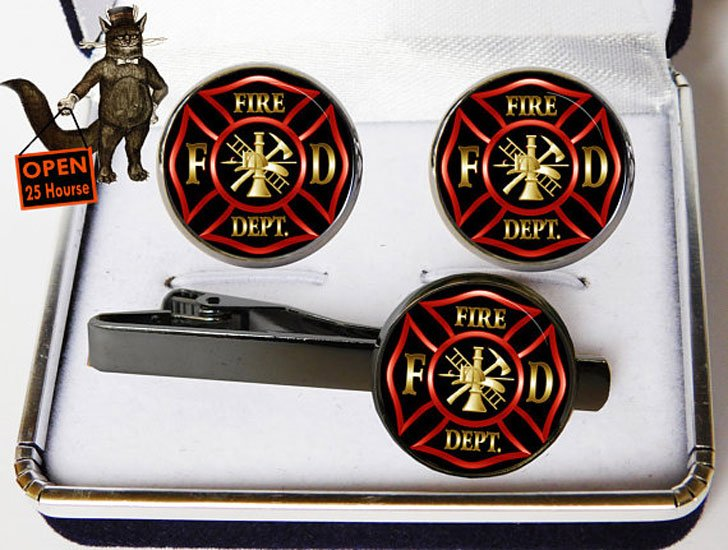Firefighters Cufflink and Tie Clip Set