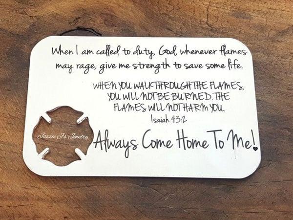 Firefighters Prayer Engraved Wallet Insert