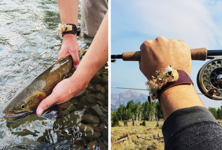 Fly Fishing Leather Cuff - With Flies!