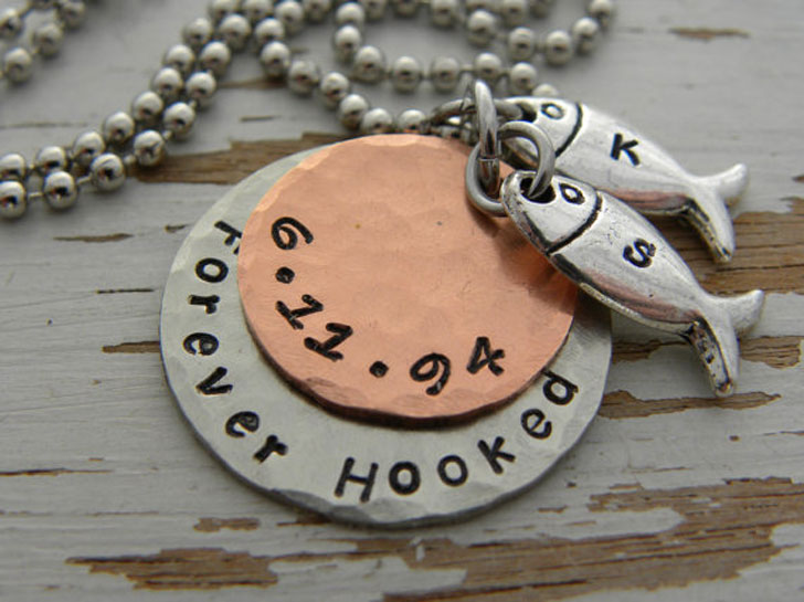 Forever Hooked Hand Stamped Personalized Fishing Necklace