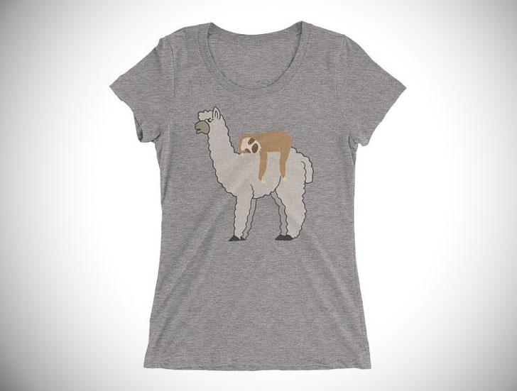 Funny Sleepy Sloth and Llama Women's Short Sleeve Shirt