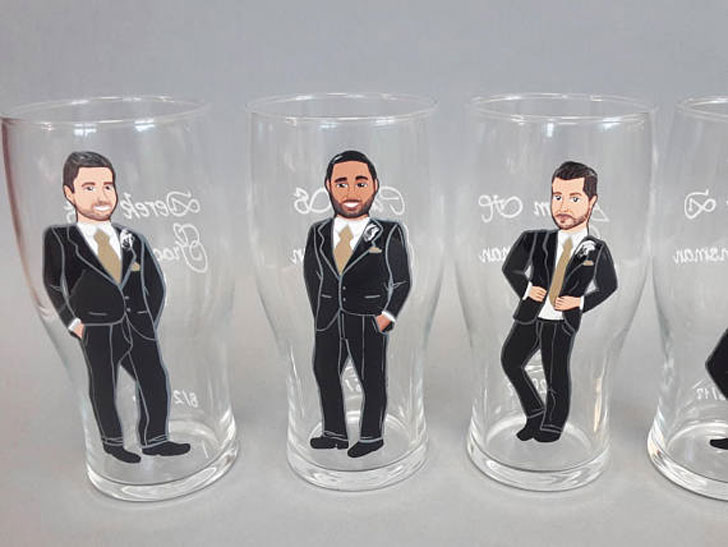 Groomsmen Hand Painted Personalized Beer Glasses