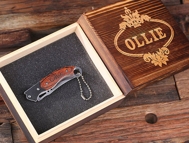 Groomsmen Monogrammed Pocket Knife with Gift Box