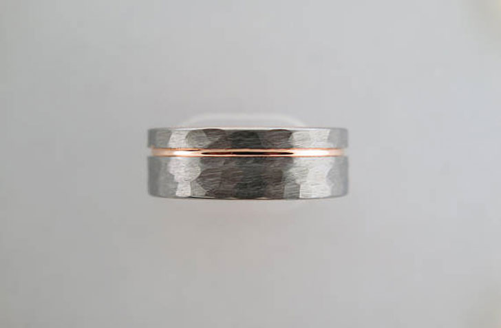 Hammered Brushed Tungsten Carbide Rings