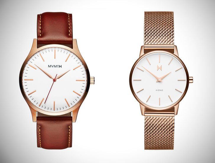 His Rose Gold Natural Tan Watch with Her Lexington Avenue series Watch