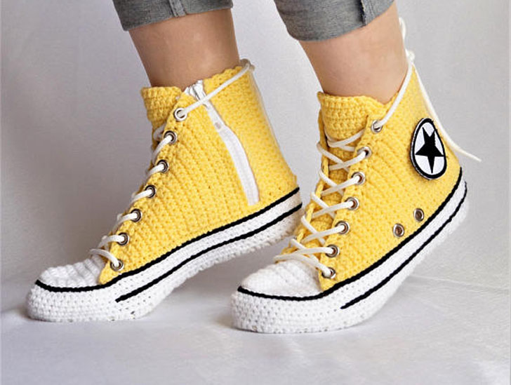Knitted Crochet Converse Slippers