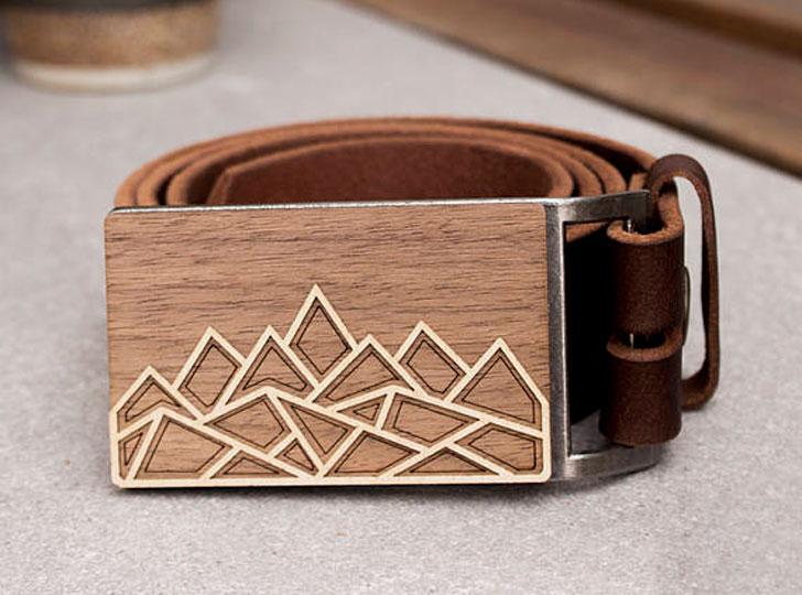 Men Mountain Wood Belt Buckle Belt