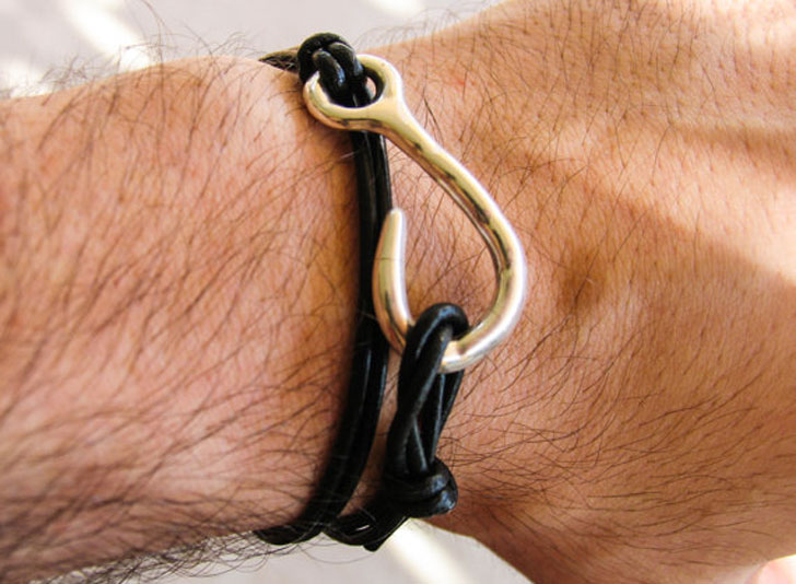 Mens Leather Fishhook Bracelet