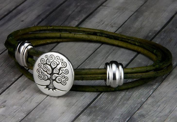 Mens Tree of Life Leather Bracelet