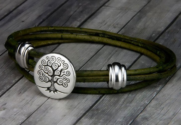 Mens Tree of Life Leather Bracelet