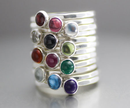 Mothers Birthstone Stack Ring