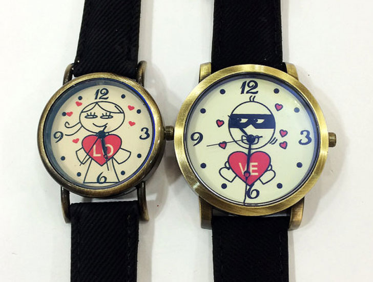 My Heart Thief Denim Print Couples Vegan Watches