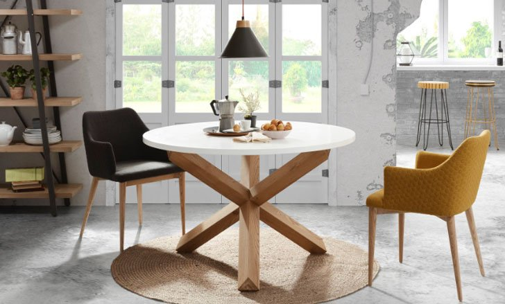 Nori Round Oak Dining Table   Unique Dining Tables