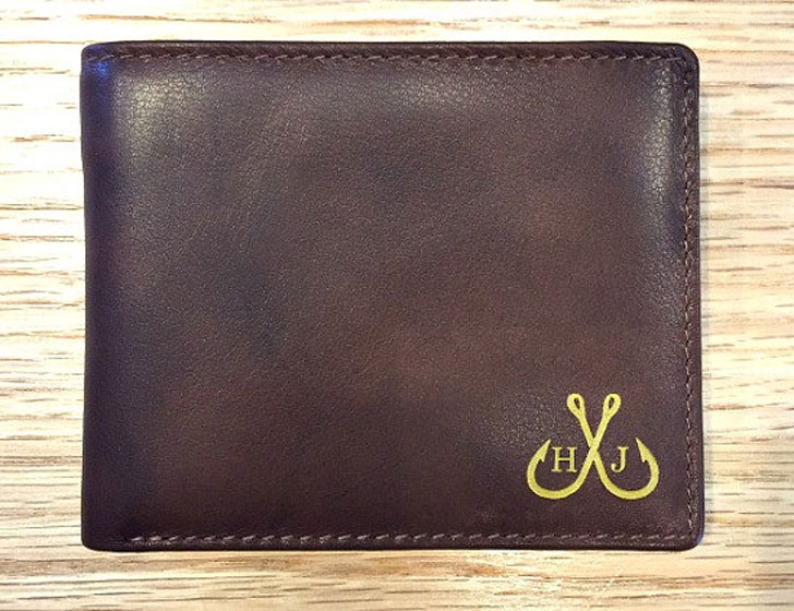 Personalized Genuine Leather RFID Fishermans Wallet