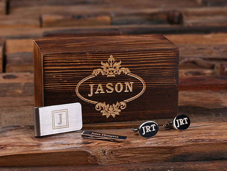 Personalized Groomsmen Cufflinks, Money Clip & Tie Clip Gift Sets