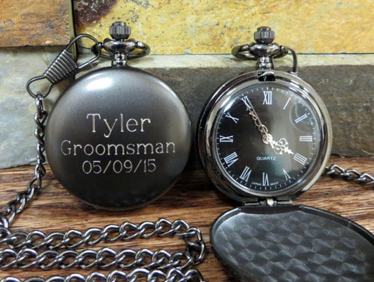Personalized Groomsmen Monogrammed Pocket Watches