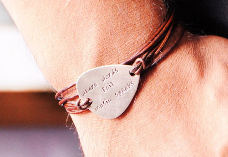 Personalized Guitar Pick Leather Bracelet