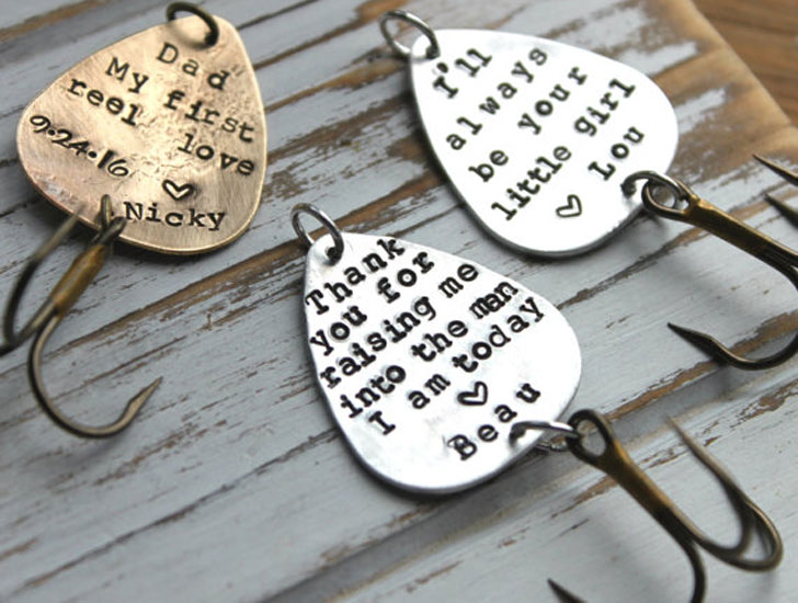 Personalized Hand Stamped Brass Fishing Lures
