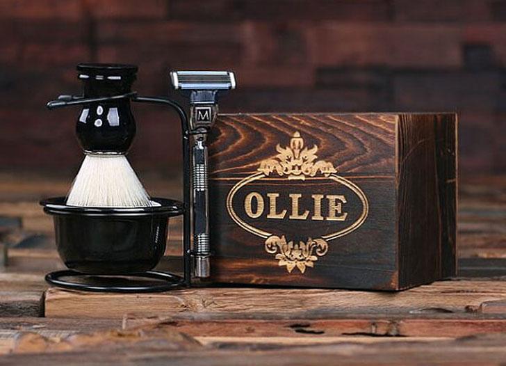 Personalized Monogrammed Shaving Kit Groomsmen Gift Box