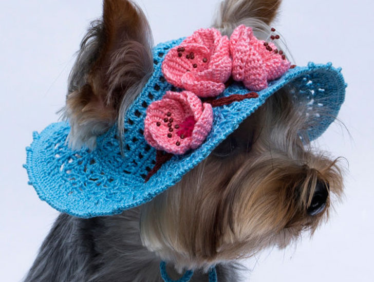 Sakura Blossoms Crochet Dog Hat