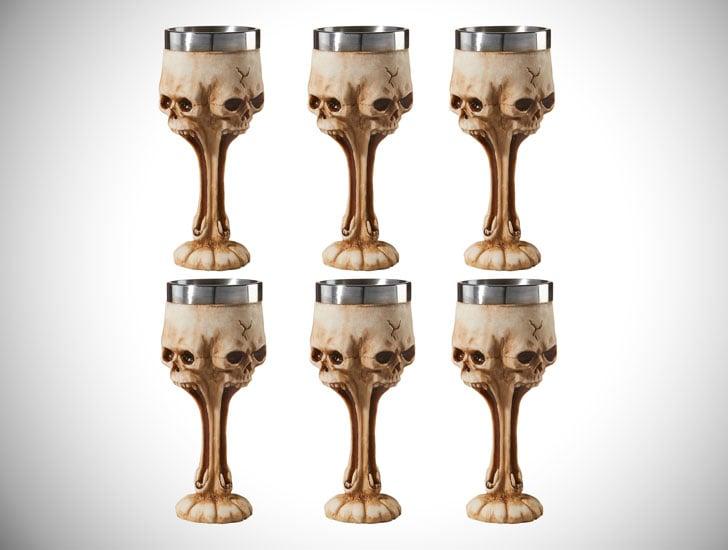 Set of 6 Gothic Skull Goblets