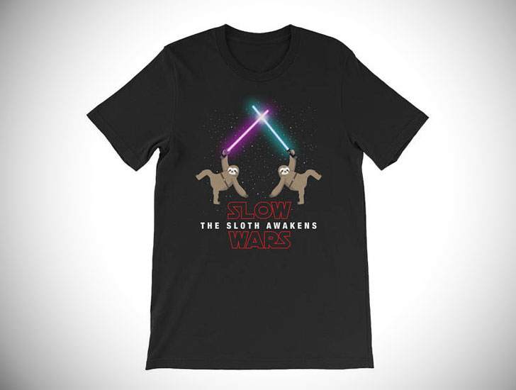 Slow Wars The Sloth Awakens Funny Parody T-Shirt